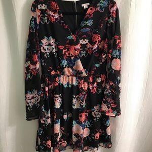 Long sleeve floral dress-Large